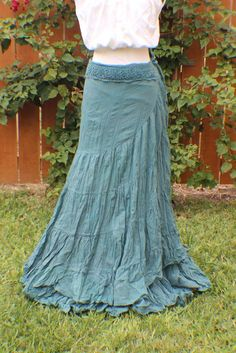 Teal tiered crinkle wrap skirt with crochet waist.