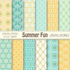 "Summer Digital Paper: ""SUMMER FUN"" yellow teal blue retro digital scrapbook paper for invites cards - Buy 2 Get 1 Free (2.80 EUR) by DigitalStories"