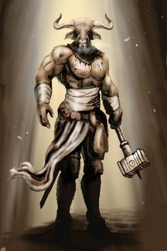 Mythological Creatures, Fantasy Creatures, Mythical Creatures, Fantasy Wesen, Fantasy Rpg, Medieval Fantasy, Bull Tattoos, Taurus Tattoos, God Tattoos