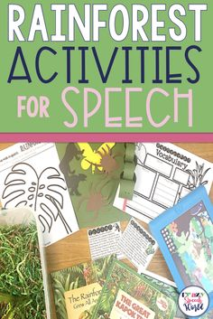 Rainforest themed activities for speech and language therapy Articulation Therapy, Articulation Activities, Speech Therapy Activities, Speech Language Pathology, Speech And Language, Group Activities, Craft Activities, Rainforest Activities, Rainforest Theme