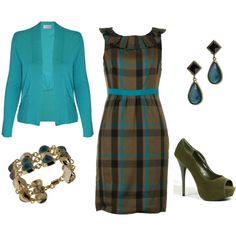 Outfit--Instead of a turqouise sweater (love the color!) would probably do a black ruffled or ruched shrug... :)