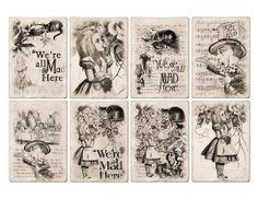 Alice in Wonderland Free Printables | Free Alice In Wonderland ATC Tags Background Digital Collage Sheet
