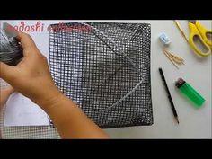 Membuat Tas Rajut Jaring Corak 3D 24 Bagian 1 Plastic Canvas Stitches, Plastic Canvas Tissue Boxes, Plastic Canvas Patterns, Crochet Basket Pattern, Crochet Top, Purses, Sewing, Handmade, Diy Bags