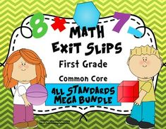 This assessment mega pack includes 160 exit slips covering all the first grade math common core standards! Use these quick, formative assessments to identify what standards students have mastered and where they may need additional support. They are the perfect progress monitoring tool to guide your instruction!