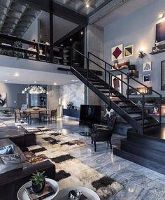 Beautiful modern design elements in this loft. Love the open space lofts provide. Loft Design, Deco Design, Design Case, Design Design, Design Trends, Studio Design, Urban Design, Dream House Design, Design Miami