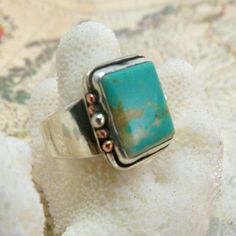 US Turquoise, Sterling Silver, & Copper  Wide Band Ring. $130.00 USD, via Etsy.