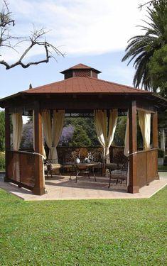 Pergola For Small Backyard Outdoor Gazebos, Backyard Gazebo, Garden Gazebo, Backyard Patio Designs, Pergola Patio, Terrace Garden, Front Yard Landscaping, Outdoor Gardens, Cheap Pergola