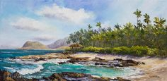 Ko Olina Paradise Cove Hawaii Original Oil Painting 12 x 24 Art Artwork Tropical Disney Aulani Hawaiian Palm Tree Lagoon Vacation. $550.00, via Etsy.