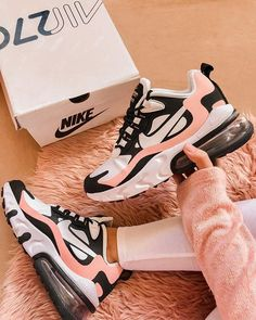 """2019 Womens Nike Air Max 270 React """"Bleached Coral"""" - Source by LindaAkumaM. - 2019 Womens Nike Air Max 270 React """"Bleached Coral"""" – Source by LindaAkumaMizuki – Sie sin - All Nike Shoes, Nike Shoes Air Force, Hype Shoes, Running Shoes, Sports Shoes, Nike Shoes For Women, Shoes Sport, Good Shoes, Nike Women Sneakers"""
