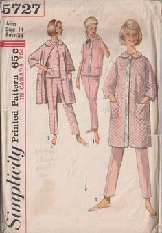 MOMSPatterns Vintage Sewing Patterns - Simplicity 5727 Vintage 60's Sewing Pattern SWELL Sandra Dee Rockabilly Slumber Party Pajamas, Blouse, Tapered Leg Pants, PJs, Duster Robe, Quilted House Coat Size 14