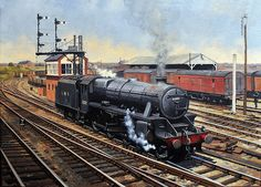 steam trains british in paintings Warwickshire Railways: Rail Art - Peter Annable GRA - LMS Stanier 'Black 5' No 5052 is seen running light engine as it passes Coventry Goods yard next to No 3 Signal Box www.warwickshirerailways.com An unidentified George Fifth locomotive is seen arriving at Rugby station on a Northampton to Rugby service