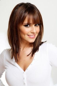 More Angles of Cheryl Cole Medium Straight Cut with Bangs - StyleBistro