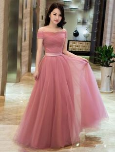 Off-the-Shoulder A-Line Elegant Tulle Evening Dress,Fashion Prom Dress,Sexy