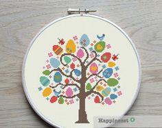 4 cross stitch patterns tree 4 seasons PDF pattern by Happinesst
