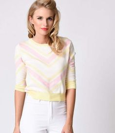 It's a sweater sundae! The brand new retro Esme chevon striped sweater top from…
