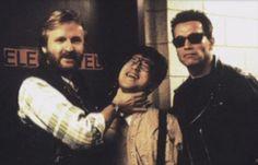 James Cameron and Arnold Schwarzenegger on the set of Terminator 2