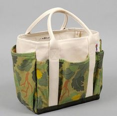 4c0f2d858bef Parrott Canvas - Leaf Camo Print Satin Weave Chino Utility Tote Designed  with a leaf camo
