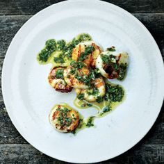 Grilled Scallops with Lemony Salsa Verde Recipe