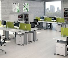 A fabulous green accent used for the modern modular office desk look amazing to the aluminum sculpted office desks.