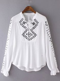 Shop White Tribal Embroidered Bandage Blouse online. SheIn offers White Tribal Embroidered Bandage Blouse & more to fit your fashionable needs.