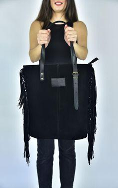 Leather Bag, Fringe leather bag, Black suede Bag, Hobo Bag, Large shoulder Bag, Tassel Bag, Everyday Tote, Bohemian Bag, Handmade Suede Tote Bag, Tote Bags, Leather Bag, Large Shoulder Bags, Bridal Shoes, Hobo Bag, Black Suede, Me Too Shoes, Bohemian