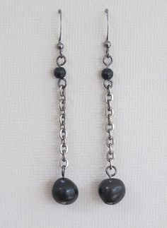 Oaxaca Clay Beads on Antiqued Silver Chain, Earrings by jUUwelry on Etsy