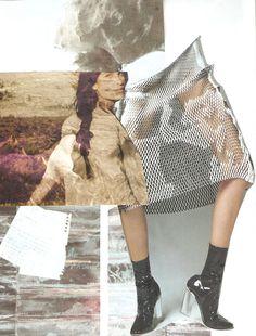 Colagem com texturas de tecido e projeção / sobreposição de imagens