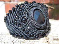 Ian Lander Jewelery : Macrame : Bracelets : Obsidian