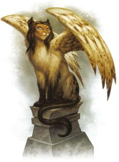 """The Sphinx is a magical creature native to Egypt. It has the head of human,  body of lion.  capable of human speech,  known for their love of puzzles, riddles, and enigmas. """"What has one voice, and is 4 footed in the morning 2 footed in the afternoon & 3 footed at night?"""" Man"""