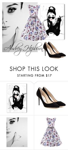 """Audrey Hepburn Flirty Style"" by dreamhigh426 on Polyvore featuring Oliver Gal Artist Co. and Jimmy Choo"