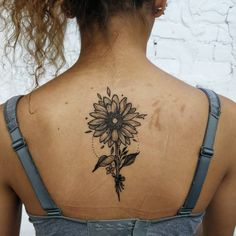 black and gray sunflower tattoo © INK AND WATER TORONTO 💗🌻💗🌻💗🌻💗