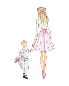 Mix & match hair | Mothers day, fashion illustration print, art print, sketch, croquis, mothers day Mother Daughter Art, Mother Art, Mothers Day Drawings, Drawings Of Friends, Fashion Illustration Collage, Boy Illustration, Mothers Of Boys, Baby Elephant Nursery, Flower Sketches