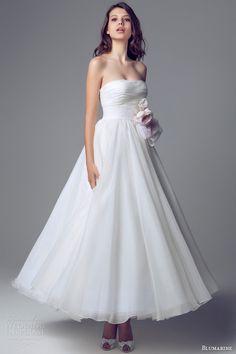 blumarine bridal 2014 strapless waltz wedding dress ruched bodice tea length ankle