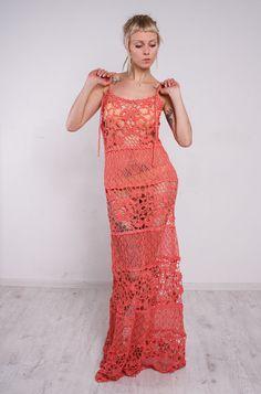 Crochet dress Crochet maxi sundress coral by CrochetDressTalita
