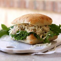Pesto Chicken Salad Sandwich - healthy and easy! Make ahead to have plenty later.