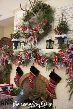 These gorgeous Christmas mantel iIdeas will give you all the cheery feels! You'll get tons of inspiration from these Christmas decorating ideas. Tartan Christmas, Christmas Fireplace, Christmas Mantels, Plaid Christmas, Country Christmas, Simple Christmas, Christmas Home, Christmas Holidays, Christmas Wreaths