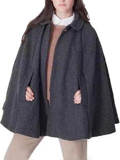 Shop Gray Lapel Poncho Cape Woolen Coat from choies.com .Free shipping Worldwide.$69.99