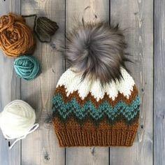 Cast On Knitting, Fair Isle Knitting, Loom Knitting, Hand Knitting, Knit Headband Pattern, Beanie Pattern, Knitted Headband, Knitted Hats, Motifs Beanie