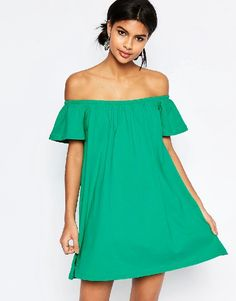ASOS Off Shoulder Mini Dress - Green