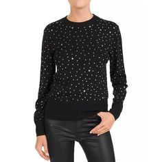 The Kooples Studded Crewneck Sweater Women - Bloomingdale's Cool Sweaters, Black Sweaters, Sweaters For Women, Edgy Look, Ribbed Sweater, Winter Wardrobe, Rib Knit, Wool Blend, Crewneck Sweater