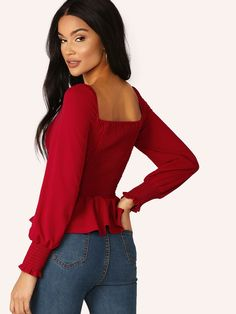 Shirred Back Button Front Peplum Top Tops For Leggings, Leggings Are Not Pants, Womens Fashion For Work, Plus Fashion, Moda Vintage, Spring Shirts, Chiffon Shirt, Cute Tops, Types Of Sleeves