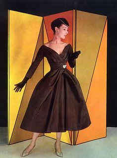 Jacques Heim evening gown, 1956 - I adore brown used for formal wear.
