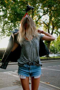 denim shorts and leather jacket