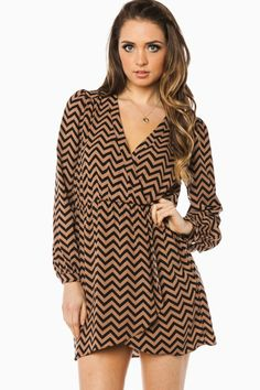 ShopSosie Style : Cecelia Wrap Dress in Black and Brown Chevron