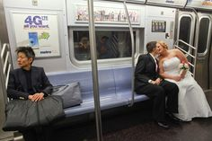 A newly married couple on the subway in Manhattan. Amanda Boyer, right, and Andreana Boyer, left, got married in New York because same-sex marriages are not legal in Colorado, where they live. Photo by Fred R. Conrad/The New York Times