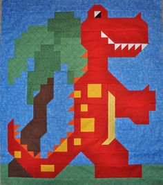 TRex Quilt Pattern 3 sizes PDF by CountedQuilts on Etsy