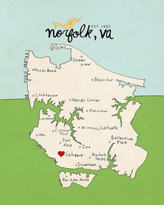 Norfolk Virginia Map Typographic Print South By Lisabarbero