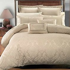 Deluxe  Rich contemporary Jacquard design in warm stylish tones Sara Comforter Set Elegant and Contemporary bedding 8 piece King  California King Size Comforter Set Multitone of Beige ** ON SALE Check it Out