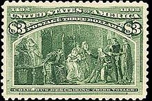 """Columbus Stamp, 3-dollar U.S. Postage, """"Columbus Describing Third Voyage"""" was one of five designs engraved by Robert Savage.  Engraving was based on a painting by Francisco Jover Casanova, the same artist whose work was adapted for the 8-cent stamp's design.  The three highest value Columbians were printed in much smaller quantities than less expensive members of the set, 27,650 in the case of the 3-dollar value."""