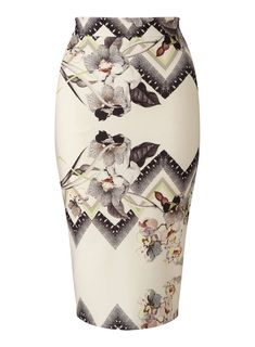 658f95519e Nude Floral Print Pencil Skirt Printed Pencil Skirt, Floral Pencil Skirt,  Floral Skirts,